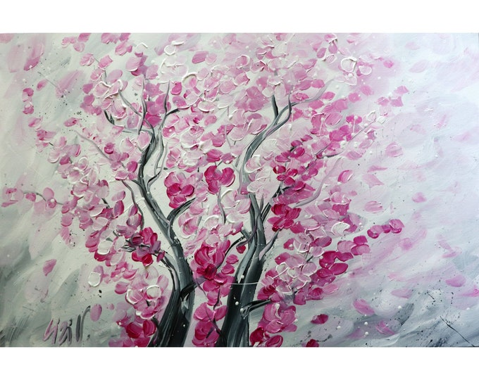 PINK CHERRY Blossom White Gray Original PAINTING Handmade Art