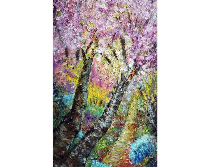 SPRING PARK Cherry Trees in Bloom, Bees , Butterflies Original Oil Painting Springtime, Thick Heavy Impasto , Textured Canvas, Ready to Ship
