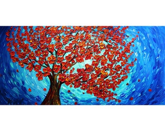 Red Orange SAKURA Blossom Cherry Tree Blue Moon Original Painting Impasto Oil on Large 48x24 Canvas Art by Luiza Vizoli