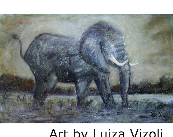 The Elephant Original Extra Large Painting 72x40 Huge Painting Sepia Gray Brown Modern Art by Luiza Vizoli