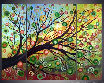 Spring Tree Original Painting Abstract Landscape Tree of Life Green yellow Blue Art on canvas 48x36