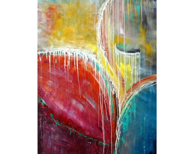 Abstract SOUL MUSIC 60X36  Extra Large Canvas red yellow blue Art by Luiza Vizoli