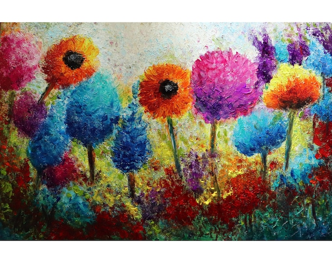 Autumn Meadow Flowers OIL Painting Impasto Textured Modern Impressionism Art Ready to Hang