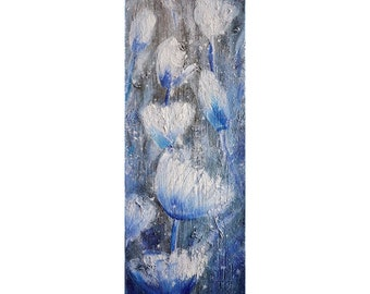 White Tulips Flowers Blossom Different Dimensions Available Blue Gray Tan Vertical Narrow Original Painting by Luiza Vizoli