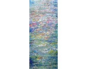 Water Mist Tall vertical wall art ORIGINAL PAINTING canvas abstract, Long Narrow wall decor for staircase, bathroom, kitchen, entryway