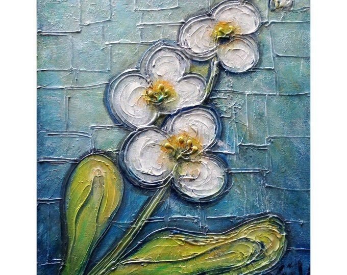 White Orchid Original Painting Handmade Impasto  Flowers Art on Canvas