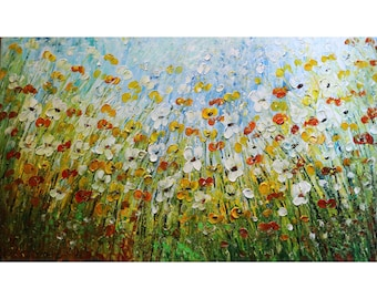 Daisy Flowers Fields 60x36 Large Painting Living Room Art Original Handmade Canvas  Ready to Hang Art by Luiza Vizoli Art Ready to Ship