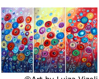 Original Painting Poppy Flowers Colorful Whimsical Canvas SUN GARDEN by Luiza Vizoli