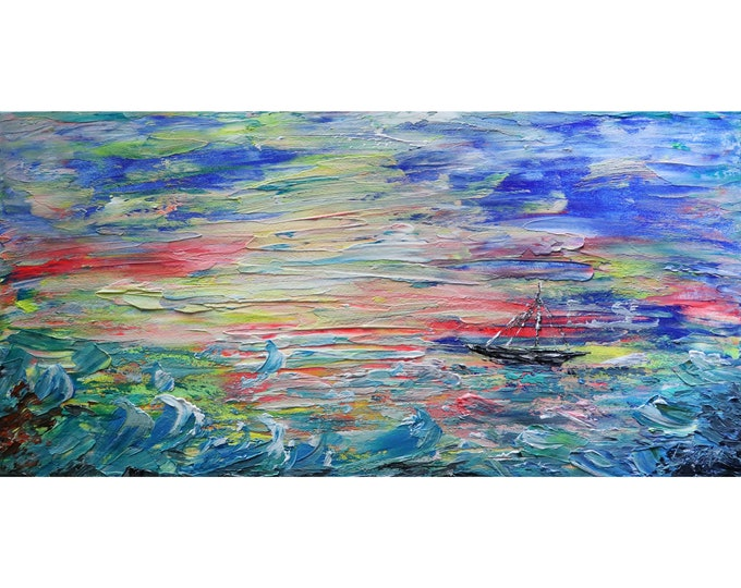 Ocean Painting on Canvas, Abstract Art, Sailing Painting, Sunset Wall Art, Modern Wall Decor for Home Large Artwork Gifts for Men