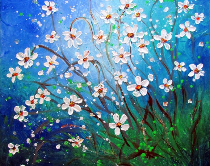 White Blue Green DAISY Original Abstract Painting HUGE Modern Impressionist White Flowers Large Oil Painting  Meadow by Luiza Vizoli