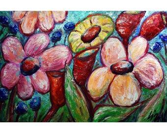Hawaii TROPICAL FLOWERS Original Painting Colorful Whimsical Art by Luiza Vizoli
