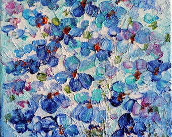Forget Me Not Flowers Shades of Blue Lavender on White Wildflowers Oil Painting Art by Luiza Vizoli