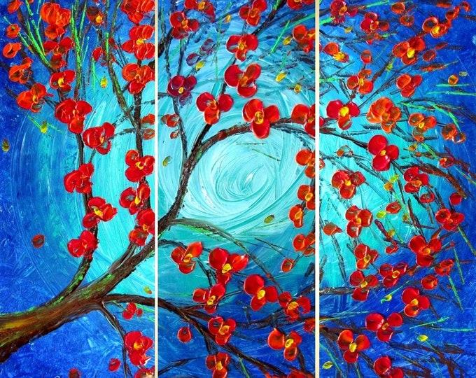 Blue Moon Music Red Cherry Original Modern Abstract Tree Impasto Oil Painting by Luiza Vizoli