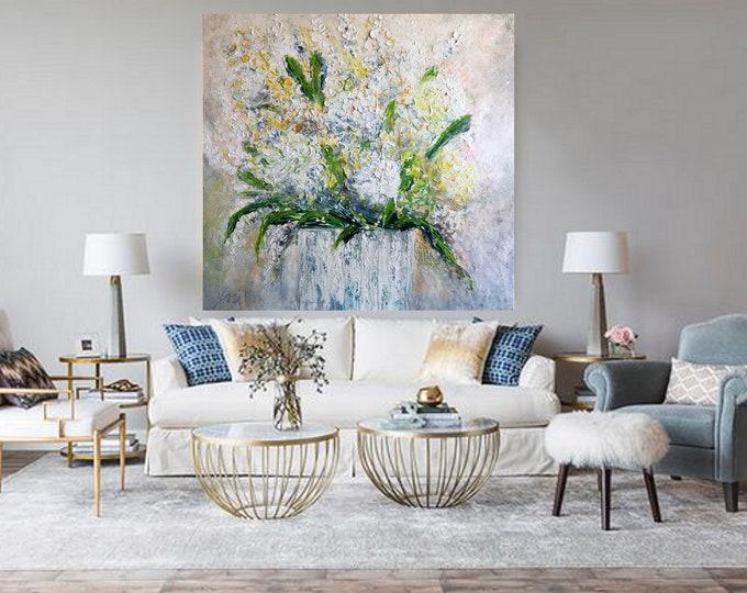 Hydrangea XXL Original Painting Spring Flowers Bouquet Impasto Oil Painting, Hydrangeas Painting on Canvas 40x40 Ready to Ship