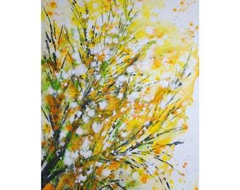 Celebrate SPRING Forsythia BLOOM Yellow White Green Gray Painting Original Painting Large Canvas Art by Luiza Vizoli