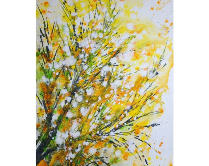 Celebrate SPRING Forsythia BLOOM Yellow White Green Gray Painting Original Painting Large Canvas Art by Luiza Vizoli