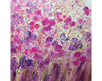 Pink Purple Lavender PETUNIAS ORIGINAL Oil Painting Vivid Colors Art by Luiza Vizoli ready to ship