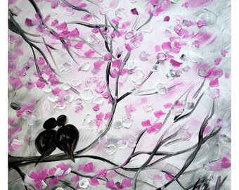 Because I Love You Pink Cherry Spring Birds Abstract Love Birds on grey Impasto Oil on Canvas by Luiza Vizoli
