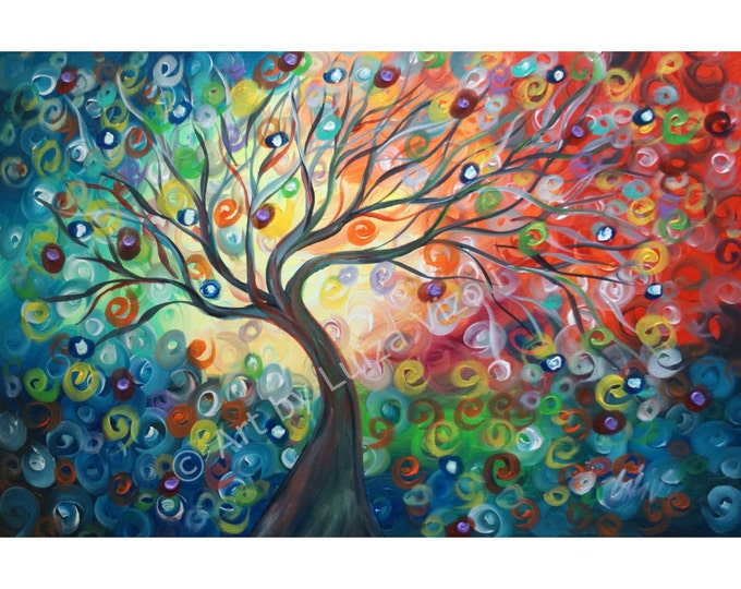 Original Abstract Painting Tree of Life Acrylic Landscape Large Canvas Direct from Artist SEASONS