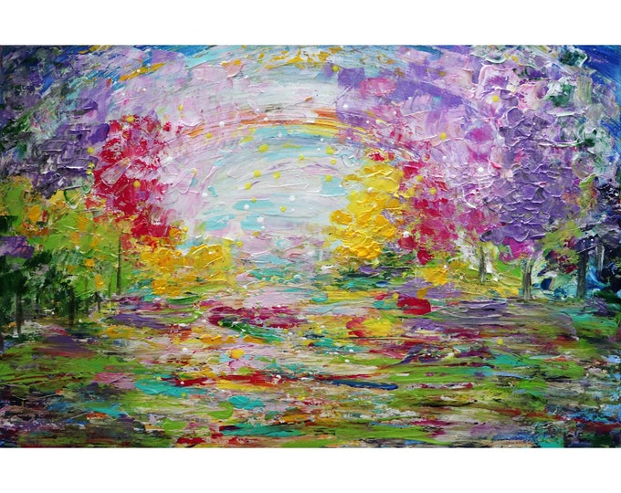 Spring Flowers Garden Pond in Bloom Original Painting Impasto Textured Art on Canvas Colorful Cherry Blossom Lily Pond Art by Luiza Vizoli