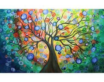Sunrise Tree of Life Large Original Painting Colorful Design Handmade Extra Large Canvas