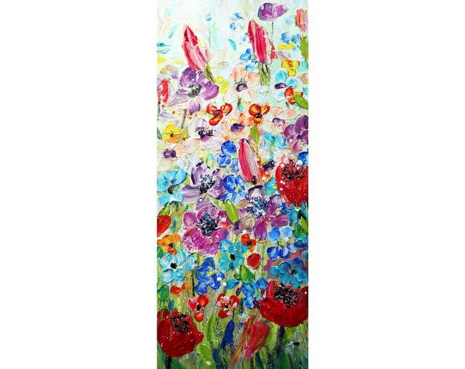 Spring TULIP Country Flowers Vivid Blossom Vertical Narrow ORIGINAL Painting