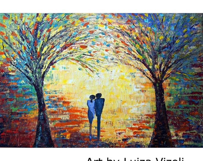 Sunset Romance ORIGINAL Oil Painting Large Canvas Art by Luiza Vizoli