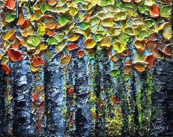Fall Birch Trees Oil Impasto Painting Autumn Colors Landscape Art by Luiza Vizoli Ready to Ship