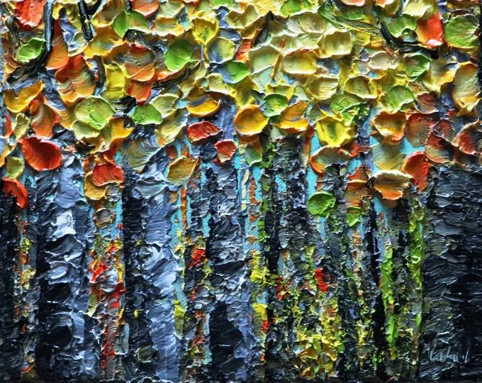 Fall Birch Trees Oil Impasto Painting Autumn Colors Landscape Art by Luiza Vizoli Ready to Ship