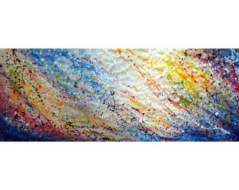 Sky Meditation 82x33 extra large Abstract Dripping Art Pollock Inspired Expressionism SUMMER WISHES Art for the office, spa retreat wall art