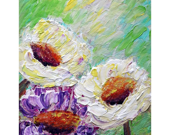 Spring Summer Flowers in Shades of White and Purple HAPPY DAY Original Oil Painting Impasto Art