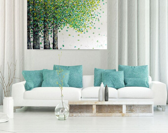 Spring Birch Trees Large Abstract Painting White Green Modern Large Canvas 48x30