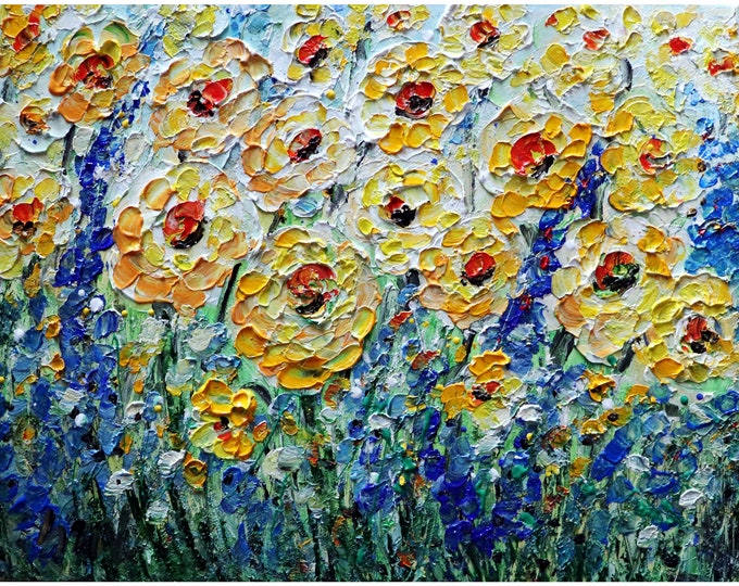 Impasto Oil Painting YELLOW FIELDS of Flowers Blue Bonnet Forget Me Not Art by Luiza Vizoli