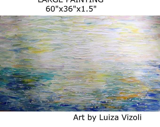 OCEAN BREEZE 60x36 Extra LARGE Painting Original Abstract Art Ready to Ship