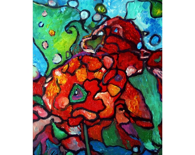 Red Wild Rose Abstract Flowers Art Oil Painting Modern Wall Decor Art
