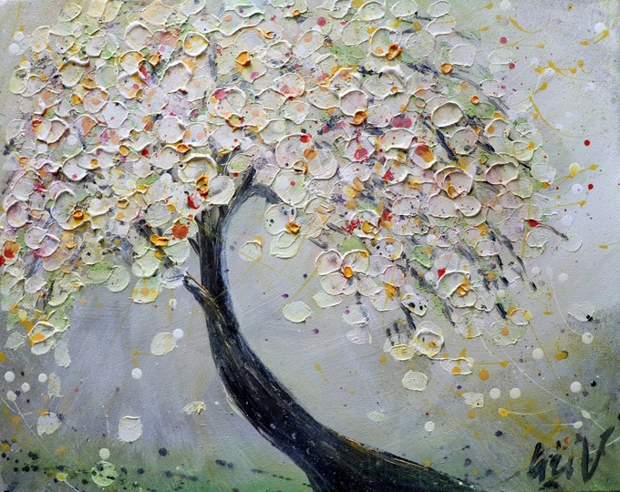 SPRING Cherry MIST Original Painting Cherry Blossom Tree Ready to Ship Art by Luiza Vizoli