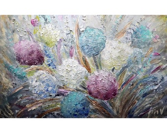 HYDRANGEA FLOWERS BLOOM Bouquet Abstract Floral Impasto Extra Large Canvas Original Painting