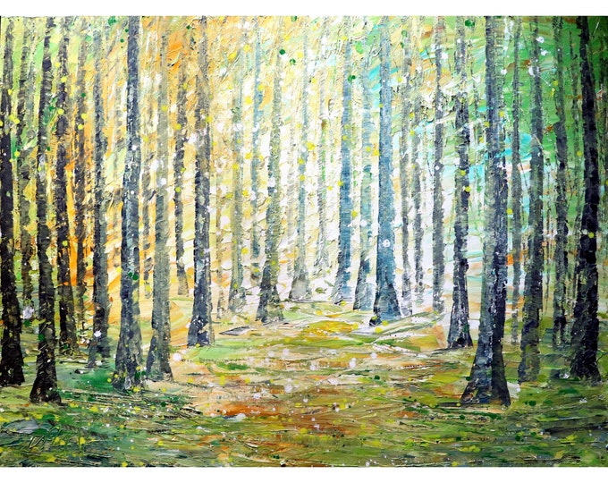New Beginnings Beautiful Spring Original Large Painting Trees Landscape Sunrise Impasto on Canvas ready to Ship Art by Luiza Vizoli