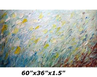 XXL Extra Large 60x36  Painting MUSIC and PETALS Living Room Art Original Handmade ready to ship gallery canvas
