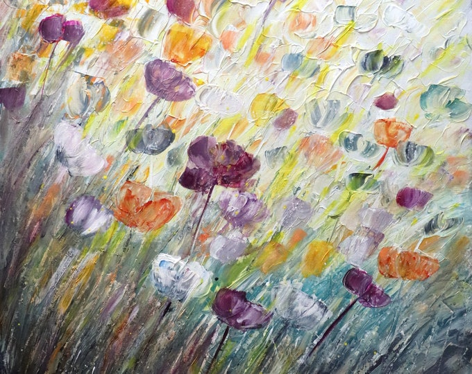 Square Painting, TULIPS Petals SPRINGTIME, textured abstract ORIGINAL Art , Extra Large  Floral Canvas