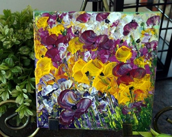 Original Oil on Canvas, SPRING FLOWERS in White, Yellow, Purple Colors, Art by Luiza Vizoli Custom Small Canvas