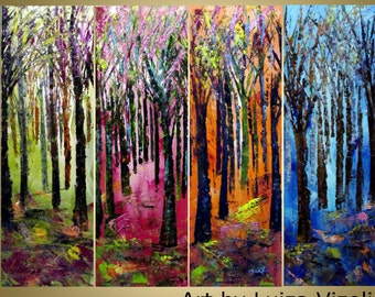 FOUR SEASONS Original Large Abstract Landscape Palette Impasto Oil painting four canvases by Luiza Vizoli