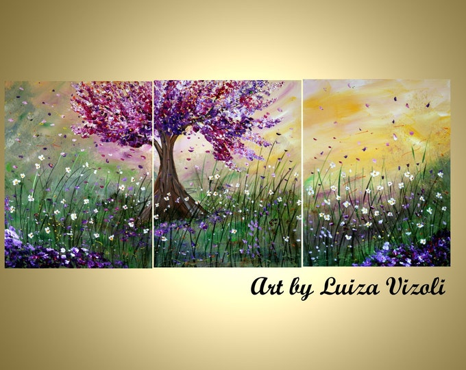 SPRING WIND,Lilac Blossom and Wildflowers Original Painting Triptych Oil Art on Canvas by Luiza Vizoli