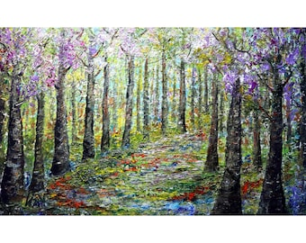 Lilacs Early Spring Forest Extra Large Canvas Original Oil Painting Platte Impasto Textured Art by Luiza Vizoli