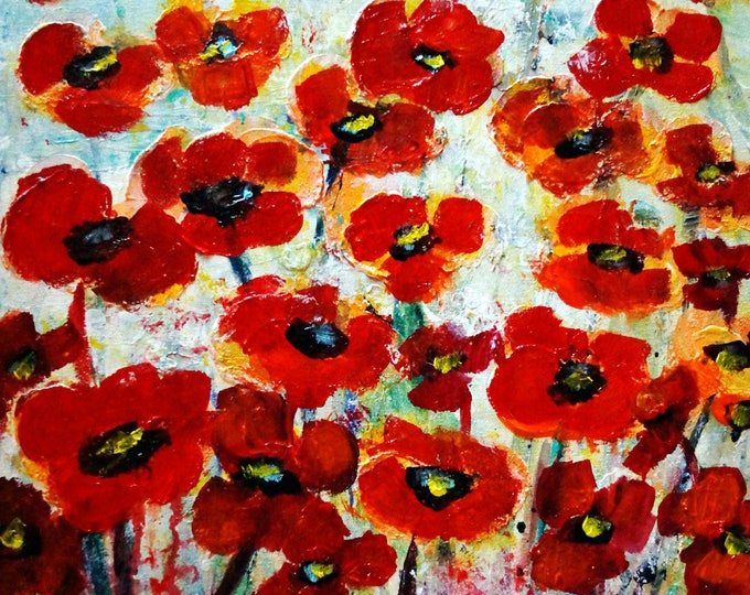 Original Painting Abstract Floral Impasto Oil Large Canvas RED Summer Flowers by Luiza Vizoli