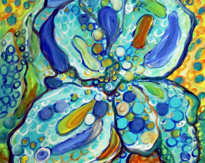 BLUE Rain Drops IRIS Flower Abstract Floral Blue Original Oil Painting Whimsical Circles 20x20