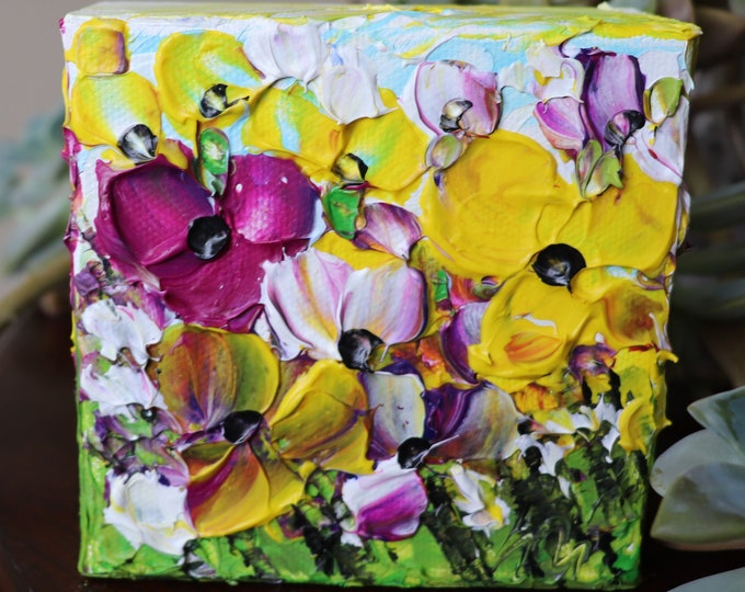 Flower Oil Painting on Small 4x4 Block Canvas, SPRING Colorful Petunia FLOWERS