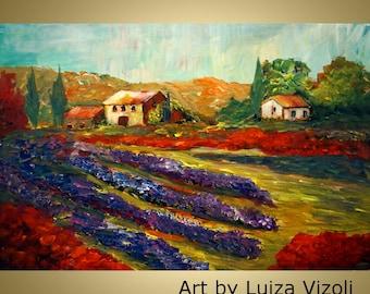 TUSCANY HILLS  Original Oil Landscape Painting on Canvas Lavender Poppies Summer Fall Impasto Landscape Art by Luiza Vizoli