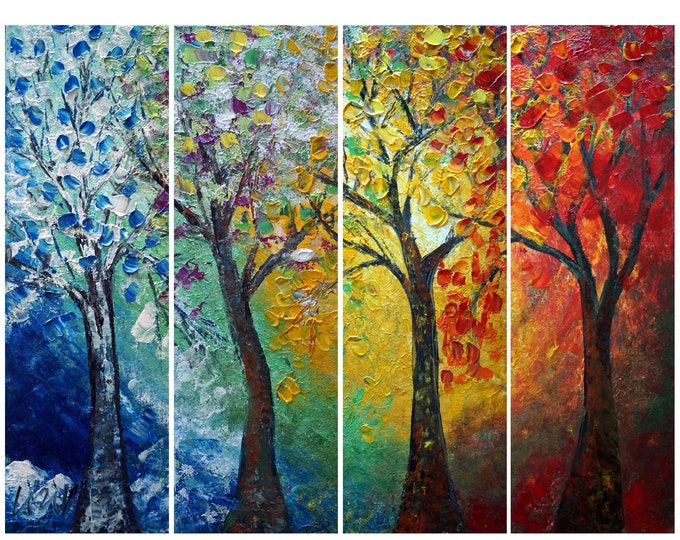 Journey Through Seasons Landscape Painting Abstract Original ART Trees Palette Impasto Colorful Wall Decor Ready to Ship