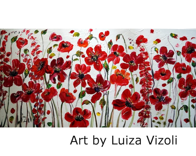 RED FLOWERS On White Large Canvas Oil Painting by Luiza Vizoli MADE to Order